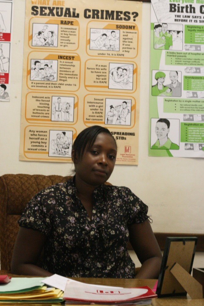 Edith Moyo in her office at the Legal Resources Foundation in Mutare